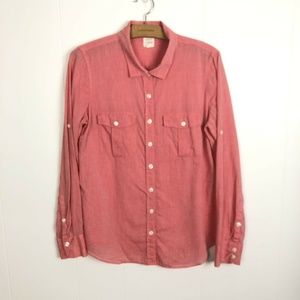 J Crew The Perfect Shirt Size M Pink